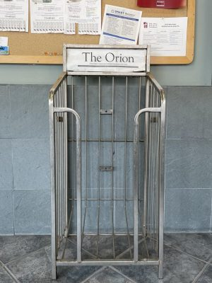 An old Orion newspaper stand. Photo by Devonte Barr.