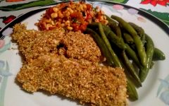 Sesame, herb and parmesan breaded cod, corn salsa and steamed green beans.