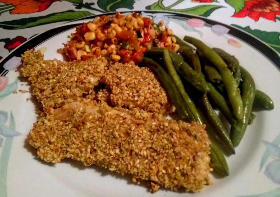 Sesame%2C+herb+and+parmesan+breaded+cod%2C+corn+salsa+and+steamed+green+beans.