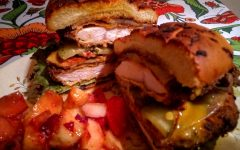 Honey mustard, bacon, pickle and provalone crispy chicken sandwich with fruit salad. Photo by Ian Hilton, 9/8/2021.