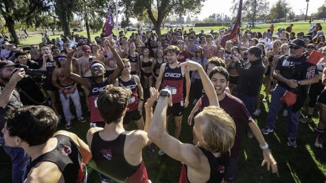 The team celebrating after competing in the 2019 NCAA Division 2 Cross-Country Championships