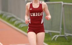Kym Crosby competing in a race during her time at Chico State