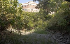 The Big Chico Creek portion behind the OConnell Technology Center runs dry.   Photo taken on Sept. 15, 2021