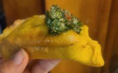 Chimichurri on cornflour empanada