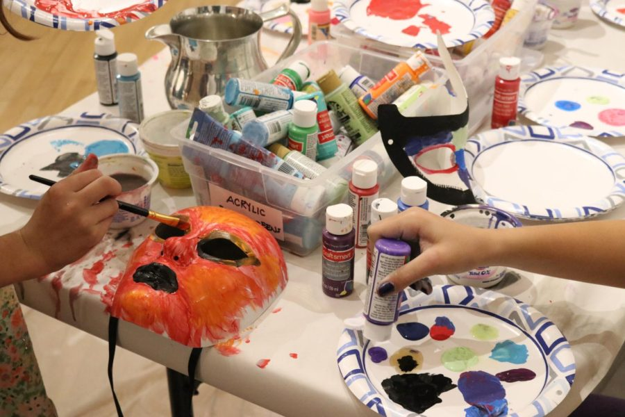 Various supplies were provided for mask-decorating, courtesy of monca. Photo by Maricarmen Becerra-Gonzalez