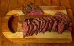 Grilled hanger steak marinated as carne asada. Photo by Ian Hilton.