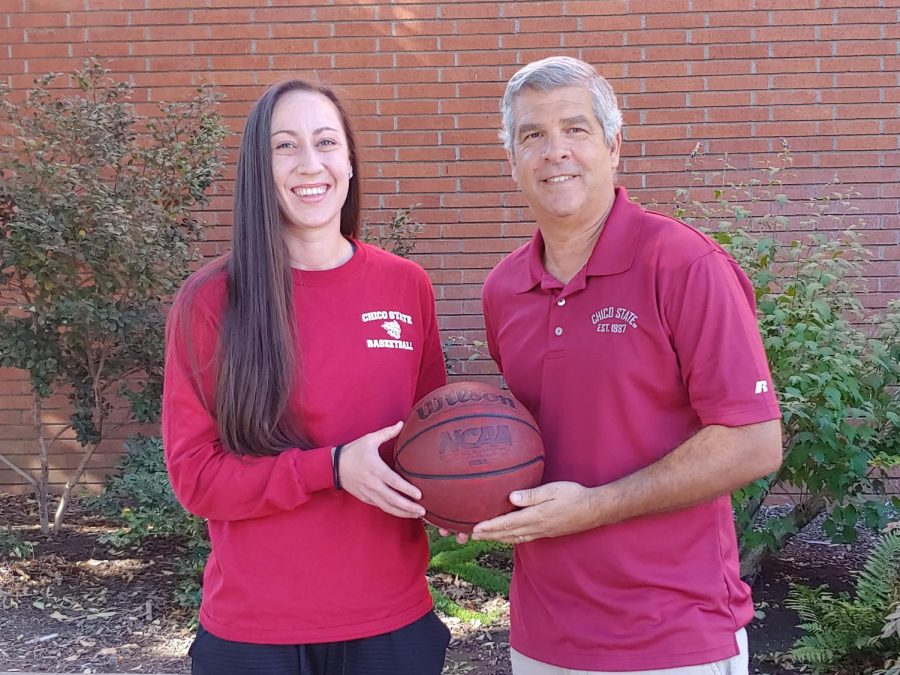 Kylie+Towry+%28left%29%2C+the+newly+acquired+assistant+coach+for+the+womens+basketball+team+at+Chico+State+stands+with+Brian+Fogel+%28right%29%2C+the+head+coach+of+the+womens+basketball+team.