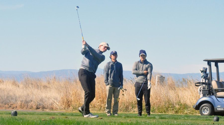Chico State golfer Mike Stephens strikes a ball.