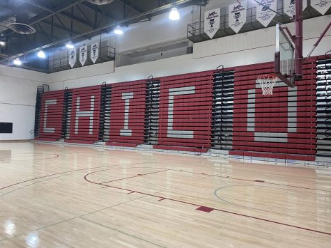 Chico spelled out in the empty bleachers at Acker Gym.