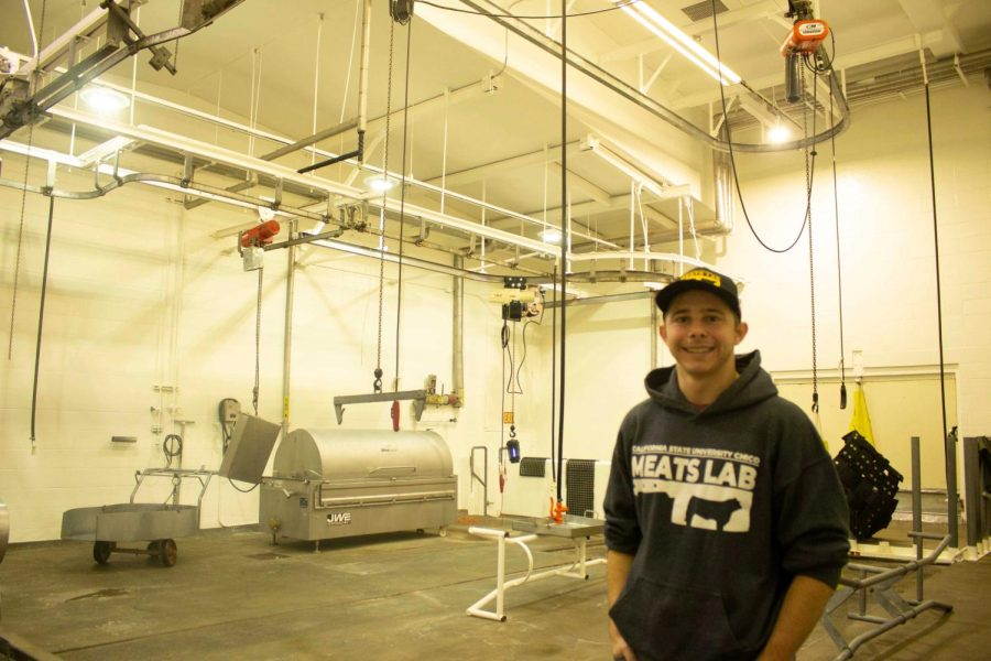 Meats Lab student Warren Dayton standing in the harvesting room of the Meats Lab, taken on Oct. 15, 2021.